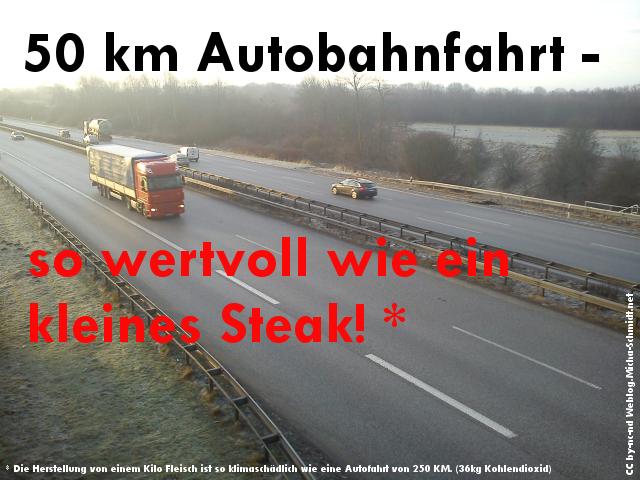 50km Autobahnfahrt - so wertvoll wie ein kleines Steak!