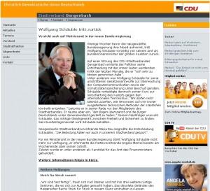 Wolfgang Schäuble tritt zurück (Screenshot www.cdu-gengenbach.de)