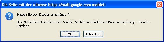 Googlemail fragt nach Anlagen